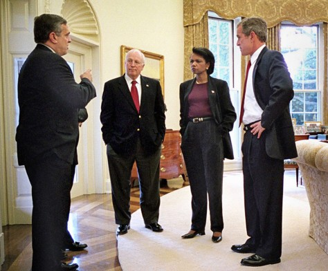 BUSH WITH TENET, CHENEY AND RICE
