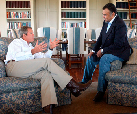 PRESIDENT BUSH MEETS WITH SAUDI ARABIAN AMBASSADOR PRINCE BANDAR IN TEXAS