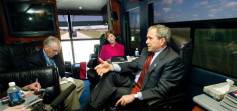 US PRESIDENT BUSH GIVES AN INTERVIEW ABOARD HIS BUS ENROUTE TO MICHIGAN