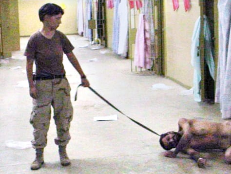 U.S. soldier and naked Iraqi detainee