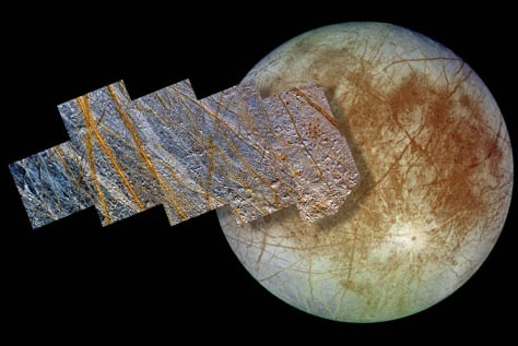 Europa and close-up of salt deposits