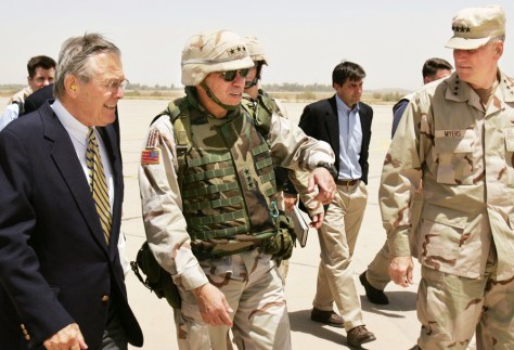 IMAGE: Rumsfeld, Sanchez and Myers in Baghdad.