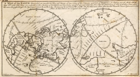 Venus transit map from 18th century