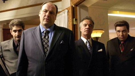 JAMES GANDOLFINI AND CAST IN SCENE FROM NEW SEASON OF THE SOPRANOS