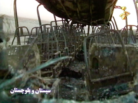 Image: Charred bus interior.