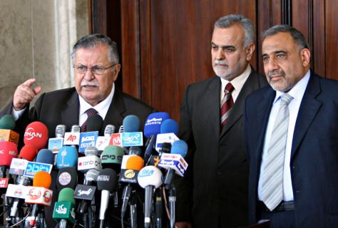 IMAGE:Talabani, al-Hashimi and Abdul-Mahdi