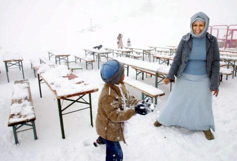 SNOWBALL FIGHT ON GERMAN MOUNTAIN