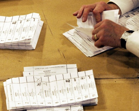 Image: Ballot papers are sorted.