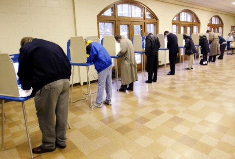 PEOPLE VOTE AT POLLING STATION IN MINNEAPOLIS MINNESOTA