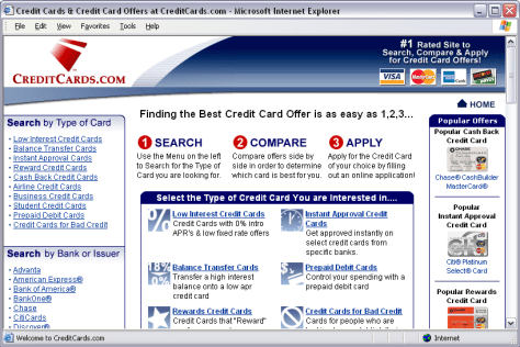 CreditCards.com site