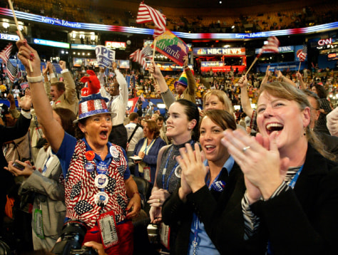 Delegates celebrate as Kerry receives votes to put him over the top to clinch nomination