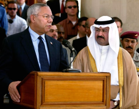 U.S. Secretary of State Colin Powell and Iraqi President Ghazi Yawar address reporters in Baghdad