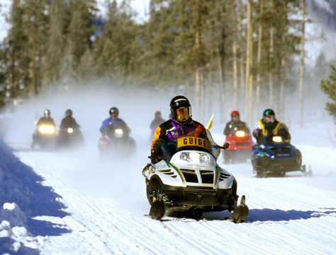 Image: Snowmobilers in Yellowstone.