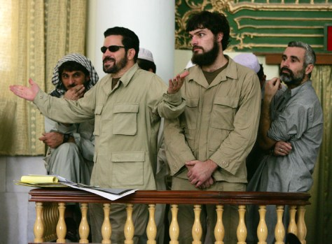 U.S. suspect Idema speaks during a hearing inside a courthouse in Kabul
