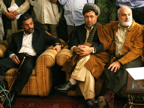 Afghan presidential candidates attend a joint press conference in Kabul