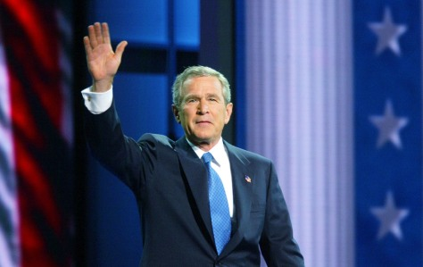 President Bush waves as he takes stage at Republican convention in New York