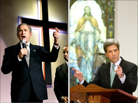 IMAGES: PResident Bush and John Kerry speaking in churches.