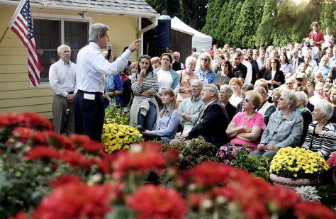 U.S. Democratic presidential nominee Kerry speaks at front porch discussion in Minnesota
