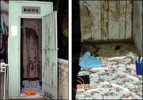 Image: Two pictures of a replica of a solitary confinement prison cell.