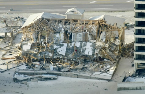 Building damaged by Hurricane Ivan in Pensacola Beach, Florida