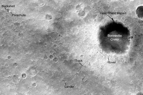 Spirit rover enxt to Bonneville Crater