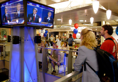 University students watch the first presidential debate in Washington, D.C.