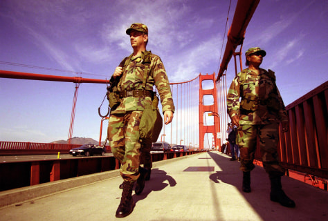 CALIFORNIA NATIONAL GUARD PATROLS GOLDEN GATE BRIDGE