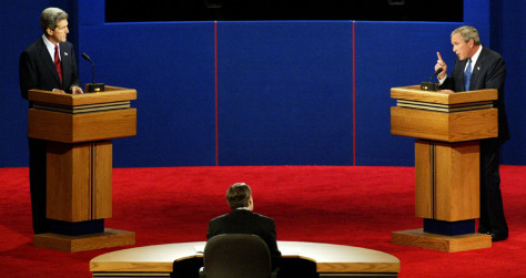 US President George Bush makes point during debate with Senator John Kerry