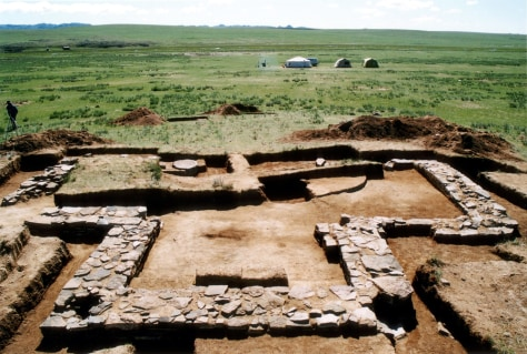 Image: The foundation of a Genghis Khan's mausoleum.