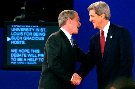 Image: Bush and Kerry shake hands