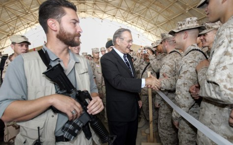 Image: Rumsfeld and troops