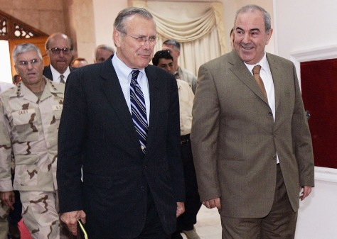 U.S. Secretary Of Defence Donald Rumsfeld Arrives In Iraq