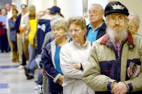 Image: Lining up for flu shots