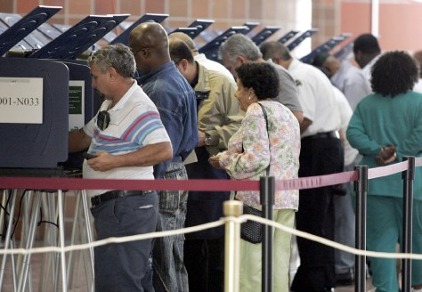 People cast their ballots during early elections in Miami, Florida
