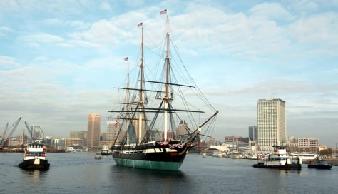 USS Constellation departs Baltimore harbor
