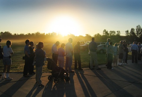 Voters wait in line as the sun comes up in Lakeland Florida