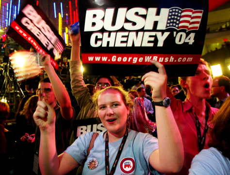 Bush supporters celebrate the election win.