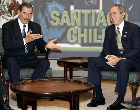 IMAGE: Mexican President Vicente Fox and President Bush