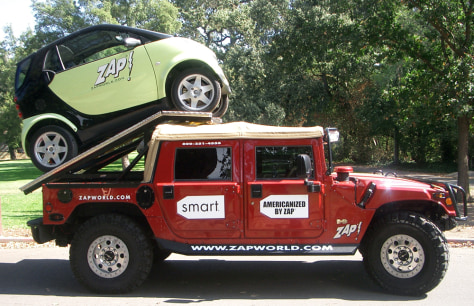 SMART CAR ON TOP OF HUMMER