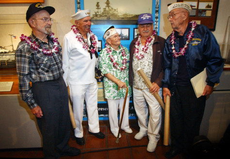 Image: Veterans at the USS Oklahoma exhibit.