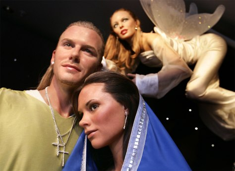 Image: Wax works of David and Victoria Beckham as Joseph and Mary, and Kylie Minogue as the angel.