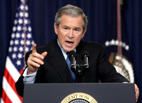 US President Bush answers a question during a press conference in Washington