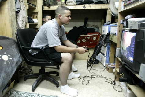 Soldiers play video game