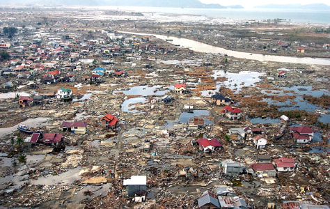 Aerial photo shows flattened houses near the coast of Banda Aceh, Indonesia
