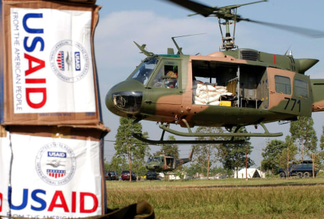 Image: U.S. Airforce helicopter seen near U.S. Aid food packages.
