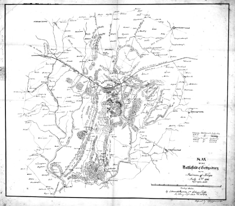 IMAGE: LEE'S MAP OF BATTLE OF GEYYSBURG