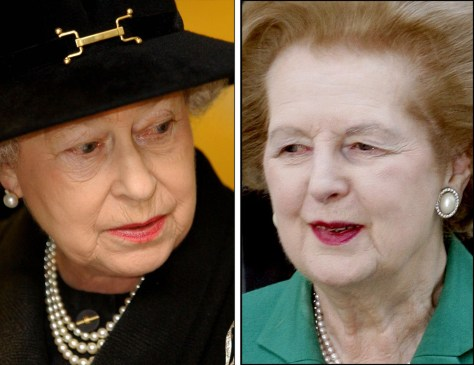 Image: Queen Elizabeth (left) and Lady Thatcher.