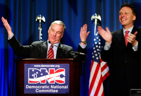 Howard Dean acknowledges supporters as he accepts his new position as DNC Chairman