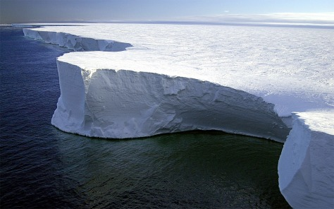 The shear face of the massive B-15A iceberg