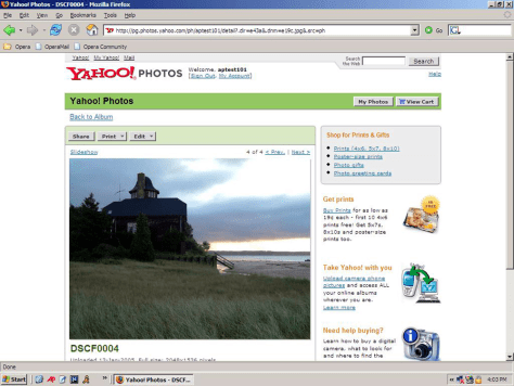 Yahoo photo Web site